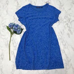 Lands End royal blue tee t-shirt terry dress l nwt